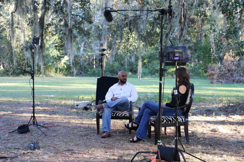 corporate consultant morphs entrepreneur mike and pam on set at Dear Rockstar