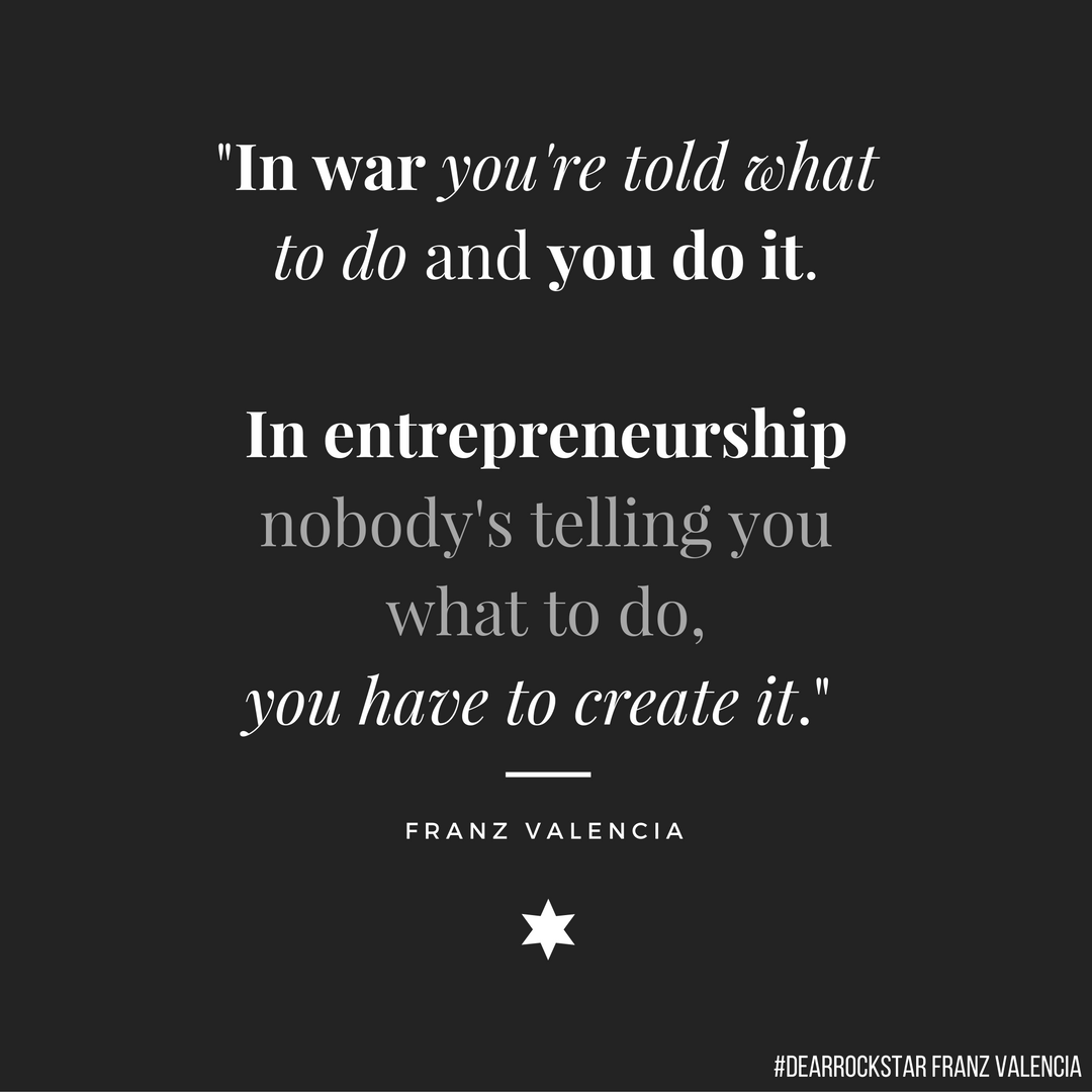 Veteran, young entrepreneur quote about the difference between entrepreneurship and war